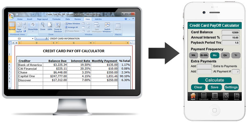 how converting excel credit card payoff calculator to