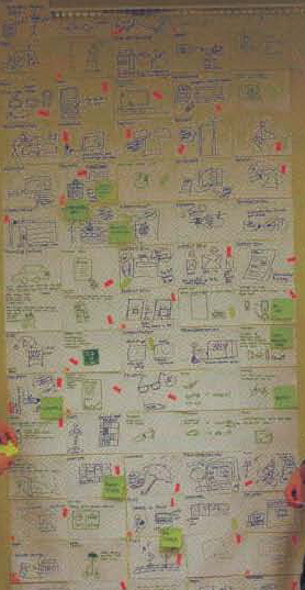 A game app flowchart that students create for a class project covers a wall.
