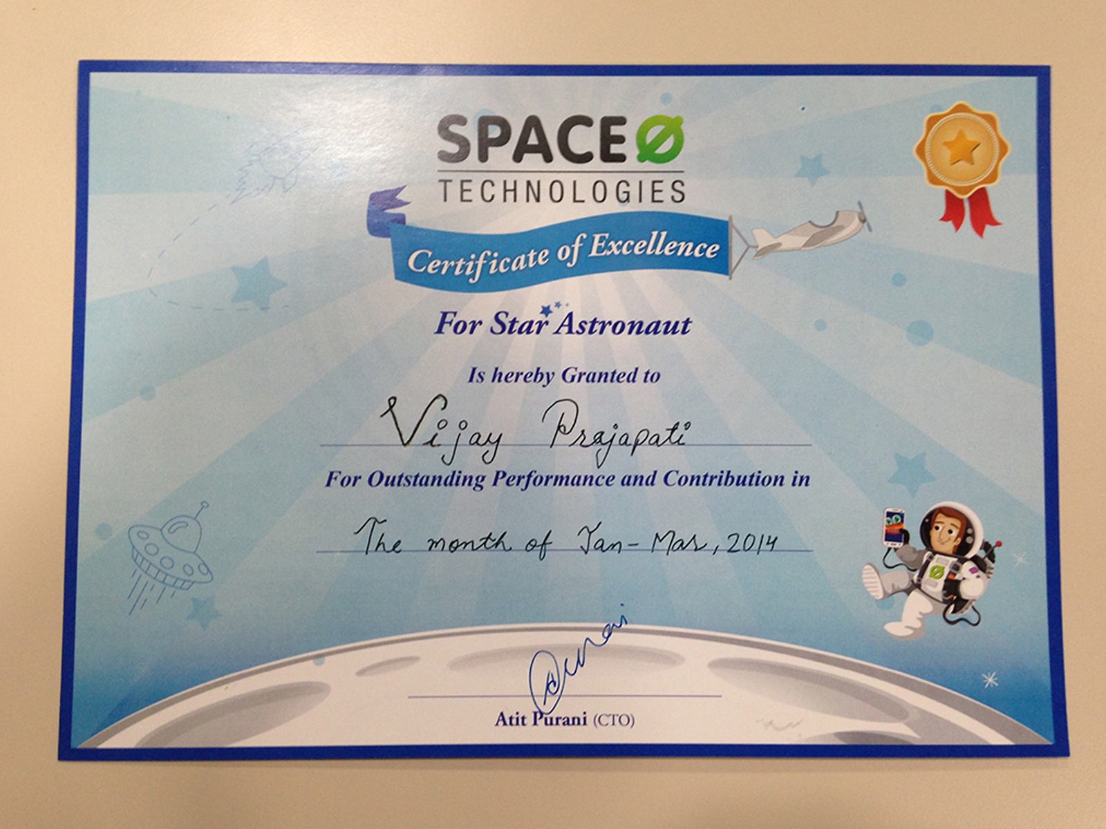 Certificate Spaceo
