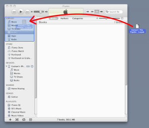 Drag the app files from the PC desktop to the Apps section of the iTunes Libary.