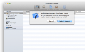 Request a development certificate from the App Store.