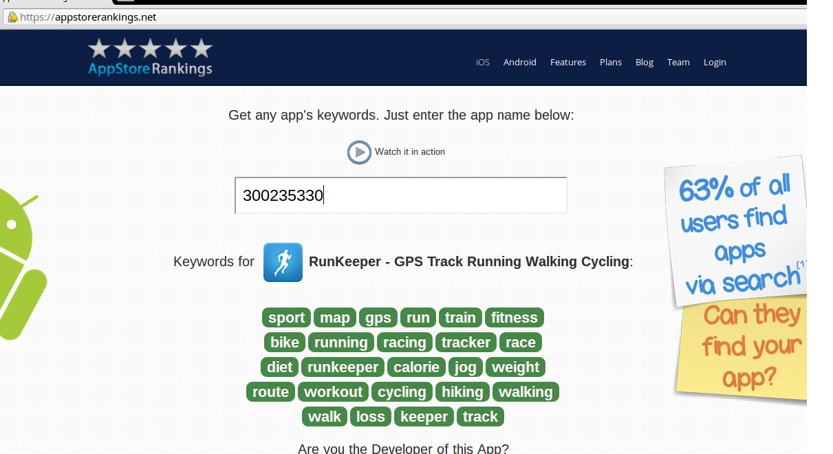 The AppStoreRankings tool can also help you refine keyword use