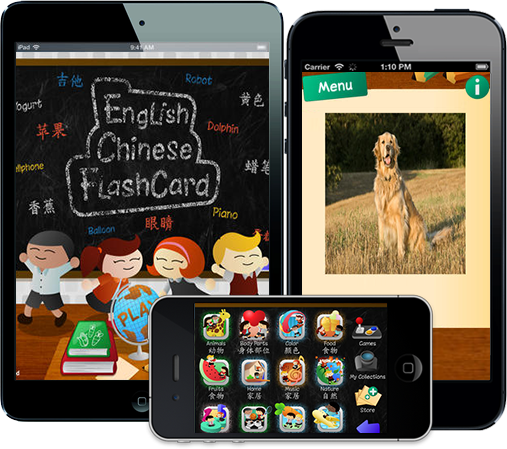 English Chinese Flash Cards for Kids
