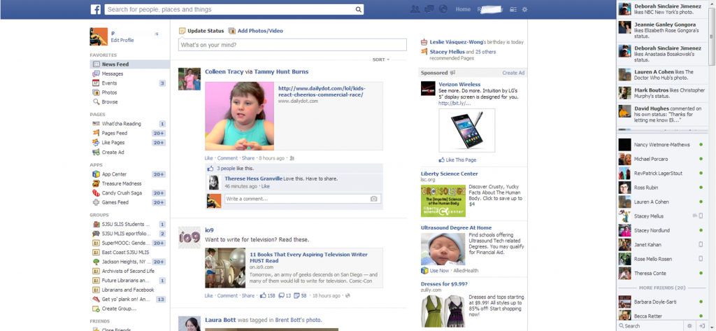 Facebook Web Interface