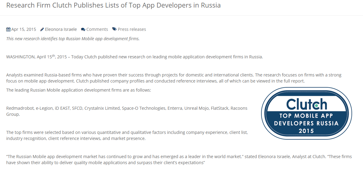 list of top app developers in russia