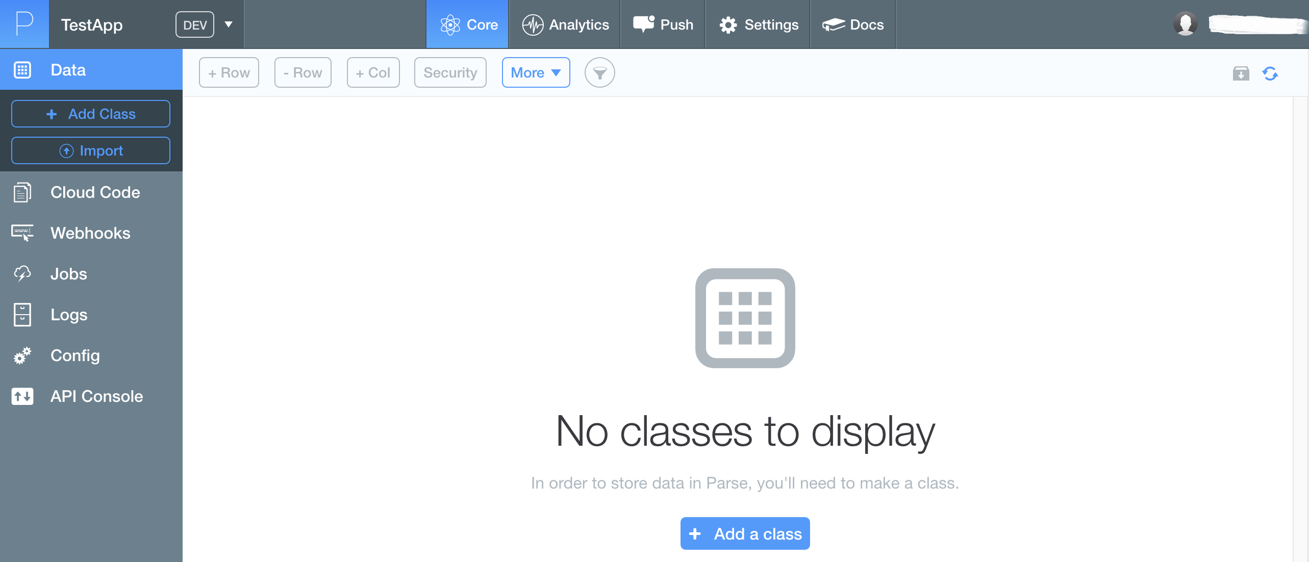 Empty Data Browser