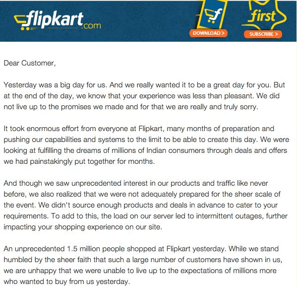 Flipkart's Appology Mail
