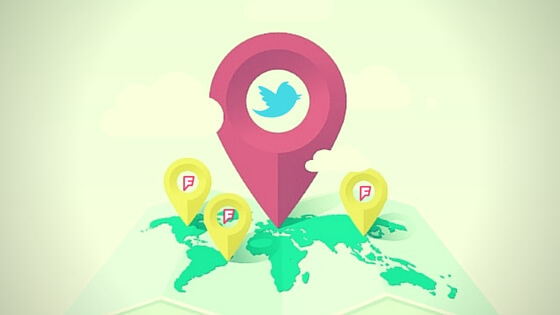 Twitter location feeds with Foursquare
